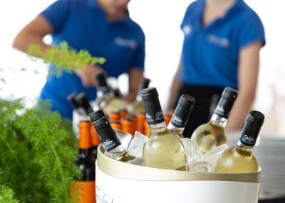 Ampolles de vi blanc amb glaçonera